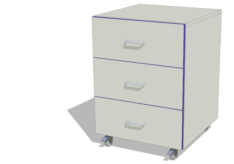 WAL 5-3D 500mm 3 Drawer Unit