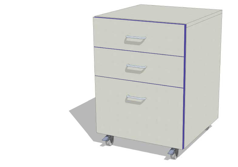Laboratory Storage Unit with 2 Drawers and Filer