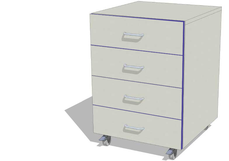 WAL 5 – 4D 500mm 4 Drawer Unit