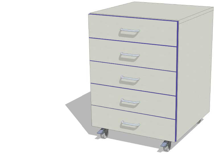 Laboratory Mobile 5 Drawer Storage Unit
