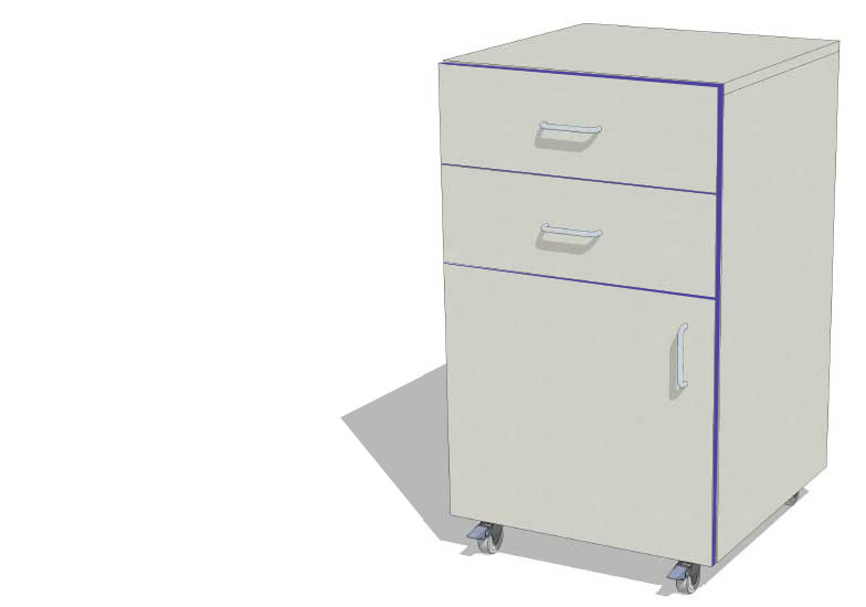 Laboratory Storage Cupboard with 2 Drawers
