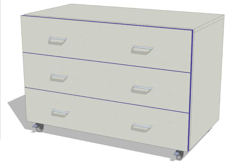 Laboratory Storage 1m wide 3 drawer