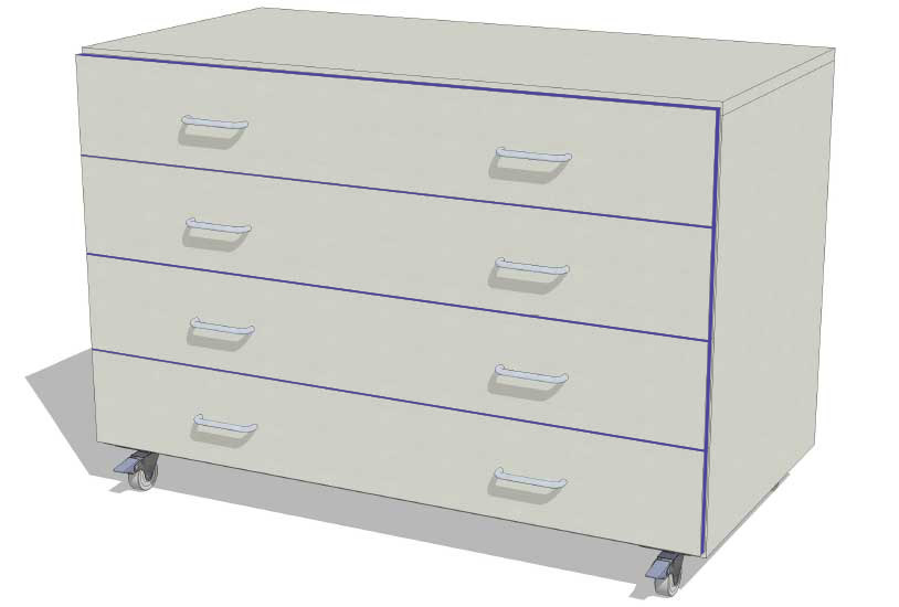 Laboratory Storage 4 Drawer Unit 1000mm wide