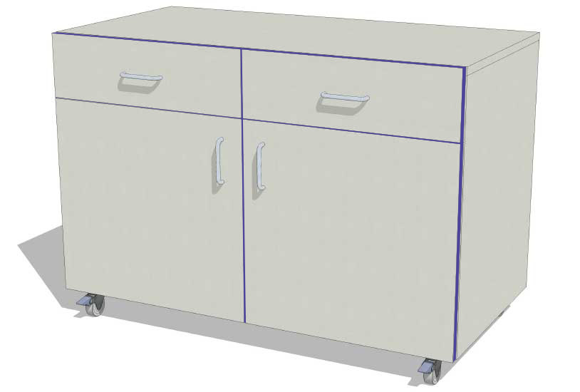 Laboratory Storage Cupboard with 2 Drawers 1000mm