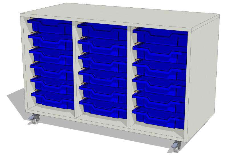 Laboratory Storage 3 Column Tray Unit